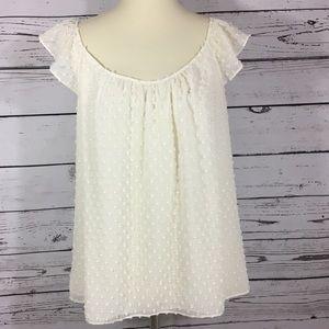 Ann Taylor Loft cream adorable too blouse sz M